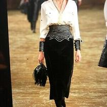 Chanel Pre-Fall 2014 Black Velvet Metallic Skirt Gold Corset Cc Logo Fr38 15k Photo