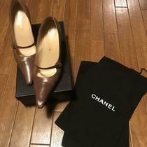 Chanel Pumps  Brown Leather Grey Heel Size Eu 37  Us 6.5 No Box Photo