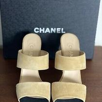 Chanel Pumps Sandals Size 38.5/39.5 Preowned Beige With Pearl Details on Back Photo