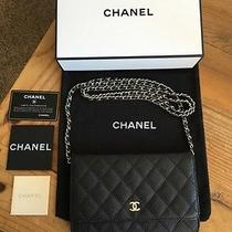 Chanel Quilted Black Caviar Leather Wallet on a Chain W/silver Hardware Gift Box Photo