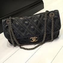 Chanel Quilted Black Handbag With Antique Gold Hardware Photo