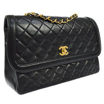 Chanel Quilted Cc Single Chain Shoulder Bag Purse Black 1577738 Ak38217e Photo