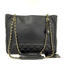 Chanel Quilted Matelasse Lambskin Cc Logo Chain Shoulder Tote Bag Black /6098e Photo