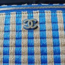 Chanel Raffia Vanity Case Blue Photo