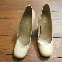 Chanel Rare Ivory Patent Leather Gold Logo Heel Pumps Made in Italy Sz 37 Pretty Photo