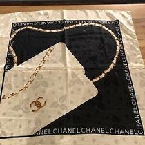 Chanel Rare Silk Scarf Vintage Cream Black & Gold 34 X 34
