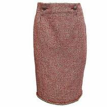 Chanel Red and Cream Tweed Skirt Photo