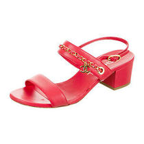 Chanel Red Lambskin Gold Chain Cc Charms Sandals Shoes Heels 37 Photo