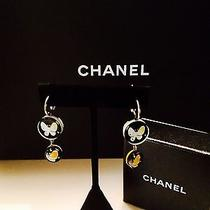 Chanel Resin Crystal Butterfly Cc Drop Earrings Black 100%Authentic  Photo