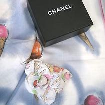 Chanel Resort 2004 Ice Cream Cone Print Scarf & Flower Corsage Pin Brooch W/box Photo