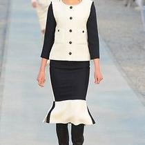 Chanel Resort 2012 Runway 2 Pc Suit Cotton Blend Marine/noir/vanile Tulle Brooch Photo