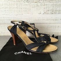 Chanel Sandal Heels Shoes Ankle Strap Denim Cc Logo Blue Size 38 1/2 Us 8 1/2 Photo