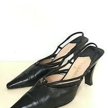 Chanel Sculptured Heel Slingback Pumps Sz 38.5 / Us 8.5 M Shoes Black Leather Photo