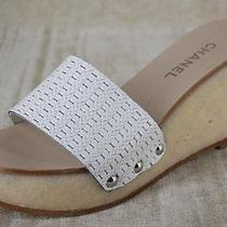 Chanel Secret White Woven Platform Wedge Slides Size 39.5 795  New Sandals Logo Photo