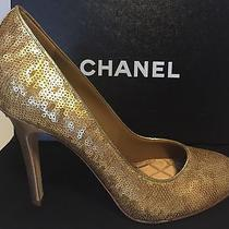 Chanel Sequined Gold Pumps Photo