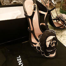 Chanel Shoes Noir Rose Is Name Gorgous Camelia ..stunning  Retailed for 895 Photo
