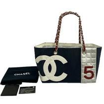 Chanel Shoulder Chain Tote Bag Coco Mark Chocolate Bar no.5 Navy Silver W/cute Photo