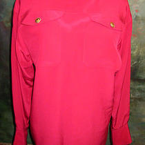Chanel Silk Blouse Red Shirt Suit Top 9 Gold Clover Buttons 40