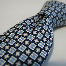 Chanel Silk Tie New Wt Stunning Blue W/ Interlocking Cs & Clover Leaf Skinny Photo