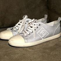 Chanel Silver Fabric Low Top Sneakers Size 37.5 Photo