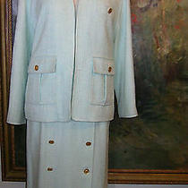 Chanel Skirt Suit Turquoise Tweed Boucle Jacket 17 Gold Coco Buttons Blazer 40 8 Photo