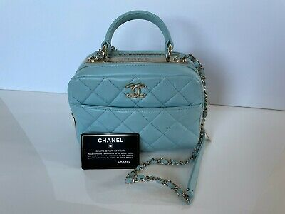 CHANEL Small Bowling Bag Chain Shoulder Purse Baby Blue Photo