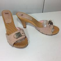 Chanel Sz 39 9 Blush Pink Suede Sandals Wooden Heels Platforms Signature Logo Cc Photo