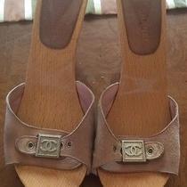Chanel Sz 39 9 Blush Pink Suede Sandals Wooden Heels Platforms Signature Logo Cc Photo