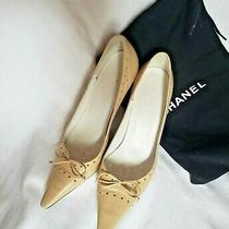 Chanel Tan  Leather Pumps Heel Shoes 38 Us Size 7.5 Authentic Made in Italy Photo