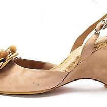 Chanel Taupe Suede Leather Camilla Embellished Sling Back Wedge Size 40 Photo