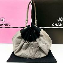 Chanel Tote Gray Leather Black Fabric Purse Handbag - Free Shipping Photo