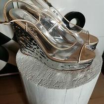Chanel Transparent Plastic Sandals on a Silver Platform Photo