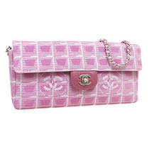 Chanel Travel Line Cc Chain Shoulder Bag 6437480 Purse Pink Jacquard Nylon 33409 Photo