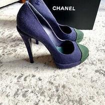 Chanel Two Tone Cap Toe Glitter Pumps Heels Green Blue 39 Photo
