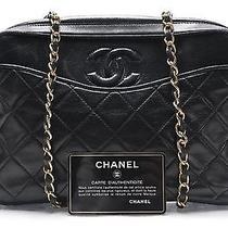 Chanel Vintage Black Lamb Skin Leather Quilted Camera Chain Bag Photo