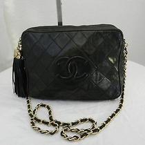 Chanel Vintage Black Quilted Lambskin Classic Camera Bag With Tassel Photo