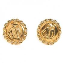 Chanel Vintage Cc Coco Gold Crystal Clip on Earrings Jewelry  Photo