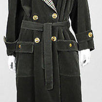 Chanel Vintage Forest Green Corduroy Xl Clover Button Trench Coat 48 Photo