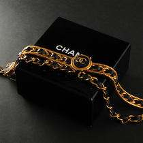 Chanel Vintage Gold Plated Chain Leather Belt 001-006-002 Photo