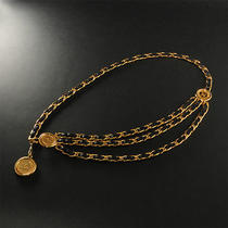 Chanel Vintage Gold Plated Leather Chain Belt 001-006-007 Photo