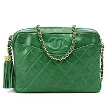 Chanel Vintage Green Quilted Lambskin Camera Handbag Photo
