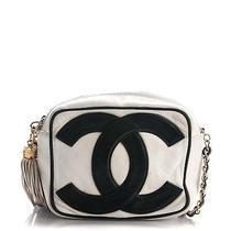 Chanel Vintage Lambskin Cc Tassel Camera Case White Black 169696 Photo