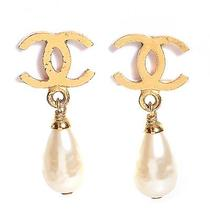 Chanel Vintage Pearl Drop Cc Clip on Earrings Gold Photo