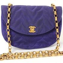 Chanel Vintage Purple Nylon & 18k Gold Plated Chain Strap Handbag Photo