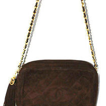 Chanel Vintage Quilted Dark Brown Suede Camera Shoulder Bag Photo