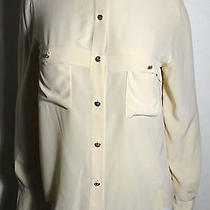 Chanel Vintage Silk Blouse With French Cuff and Clover Leaf Buttons Photo