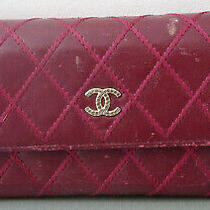 Chanel Wallet Long Wallet Maroon Red Leather Lamb Skin Stitched Quilted Pattern Photo