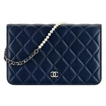 Chanel Wallet on Chain Quilted Pearl Woc Black Lambskin Leather Shoulder Bag Photo