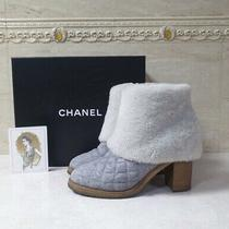 Chanel  White Grey Quilted Wool Ankle Boots sz.365 Photo