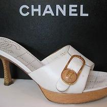 Chanel White Leather and Wood Mule  Photo